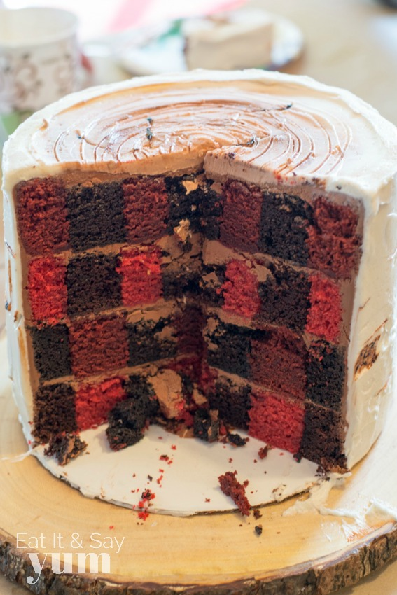 Lumberjack plaid cake for boys birthday party
